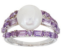 Honora Cultured Pearl Bold Gemstone Ring, Sterling - J350540