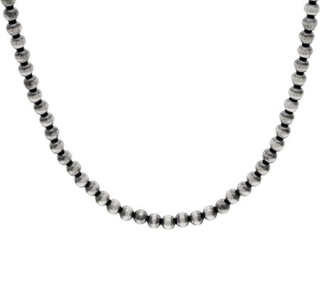 "American West Sterling Silver 17"" Polished 6mm Bead Necklace"
