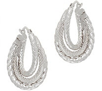 14K Gold Textured Twist Hoop Earrings - J350940