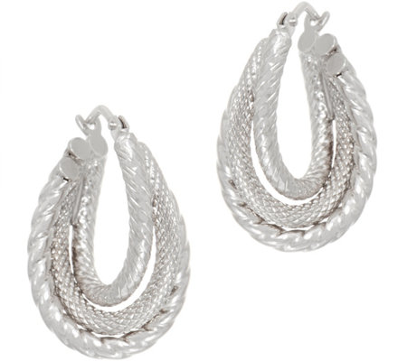 14K Gold Textured Twist Hoop Earrings