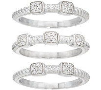 Set of 3 Rope Design Diamond Stack Rings, 1/5 cttw, Ster. by Affinity - J352040