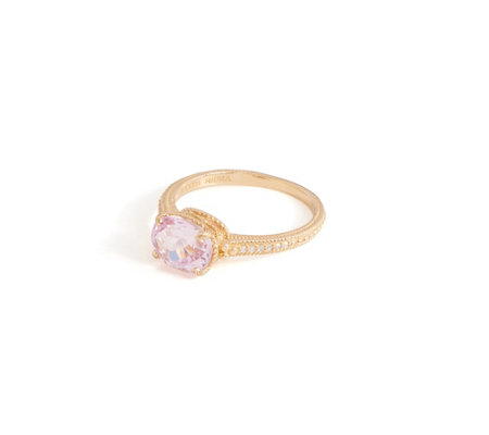 Judith Ripka 14K Gold Kunzite and Diamond Ring