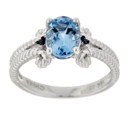 Santa Maria Aquamarine and Blue Diamond Rope Ring, 14K