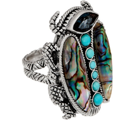 Stephen Dweck Sterling Silver & Gemstone Bold Scarab Ring