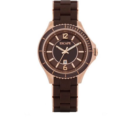 Escape Ladies Silicone Brown and Rosetone Watch