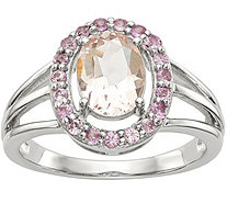 Sterling Morganite & Pink Sapphire Oval Halo Ring - J378240