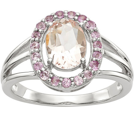 Sterling Morganite & Pink Sapphire Oval Halo Ring
