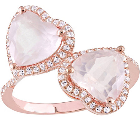 Sterling 3.60 cttw Rose Quartz & White Topaz Heart Ring