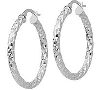 "Italian Gold 1-3/8"" Textured Round Hoop Earrings, 14K - J381740"