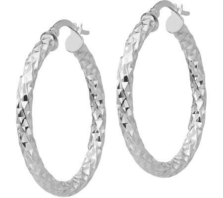 "Italian Gold 1-3/8"" Textured Round Hoop Earrings, 14K"