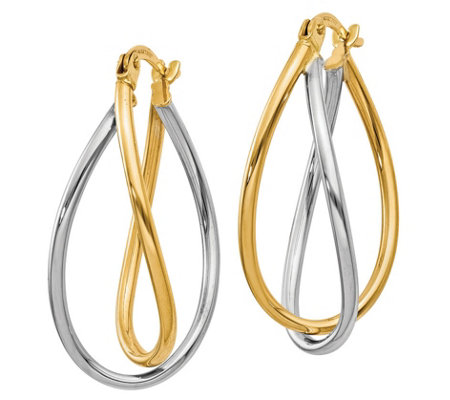 14K Gold Two-Tone Oval Twist Earrings