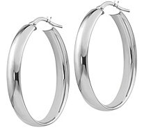 "Italian Gold 1-3/8"" Polished Oval Hoop Earrings14K, 3.4g - J382240"