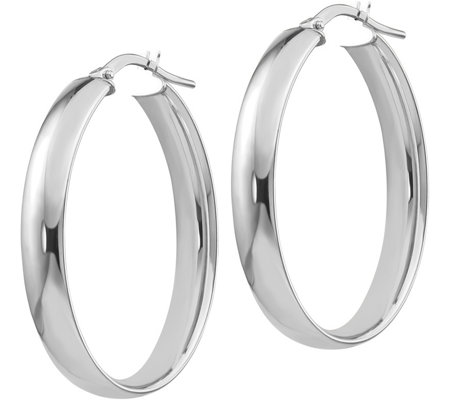 "Italian Gold 1-3/8"" Polished Oval Hoop Earrings14K, 3.4g"