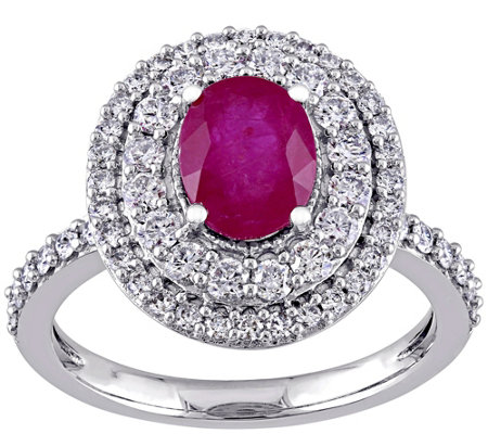 14K Gold 1.50 cttw Oval Ruby & Diamond Halo Ring