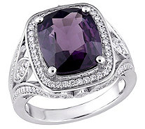 14K Gold 5.75-ct Purple Spinel & 1/2-ct DiamondHalo Ring - J383640