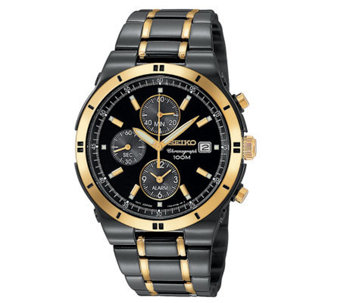 Seiko Black Ion Finish And Goldtone ChronographWatch - J107741
