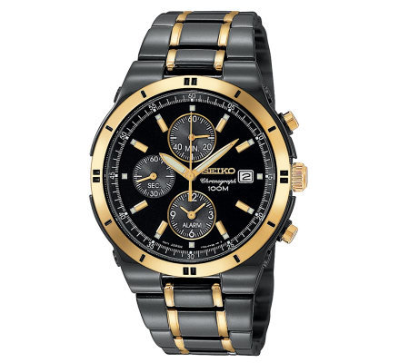 Seiko Black Ion Finish And Goldtone ChronographWatch