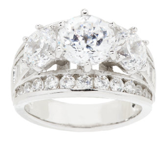 Diamonique Simulated Diamond Round 3-Stone Ring, Platinum Clad - J152641