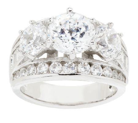 Diamonique Simulated Diamond Round 3 Stone Ring Platinum Clad