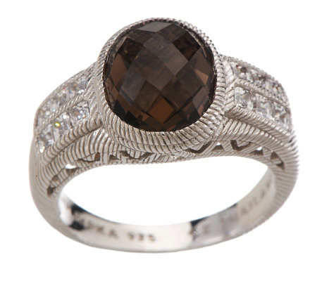 Judith Ripka Sterling 2.75ct Smoky Quartz and Channel Set Diamonique Ring