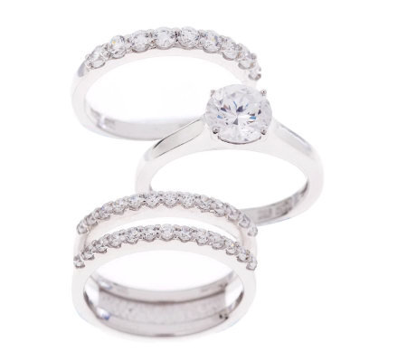 Epiphany Diamonique 2.45 ct tw 3-pc. Bridal Ring Set
