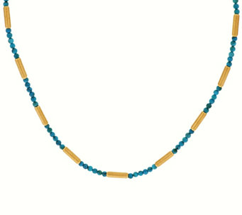 "Bronze 16"" Turquoise & Satin Bead Necklace by Bronzo Italia - J271241"