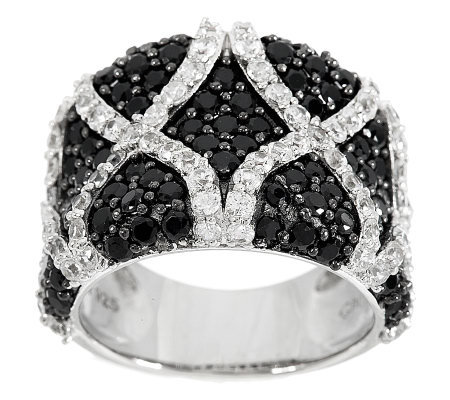 """As Is"" 4.00 ct tw Black Spinel Diamond Cut White Zircon Sterling Ring"