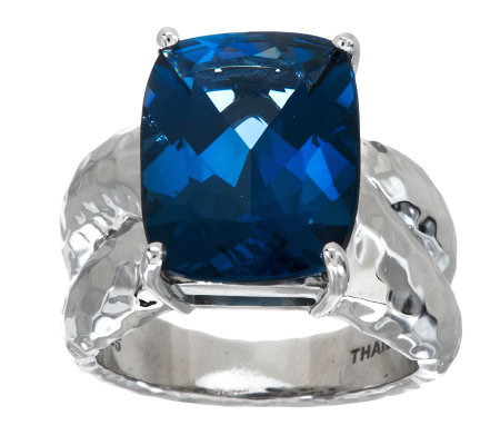 11.00 cts London Blue Topaz Hammered Design Sterling Ring
