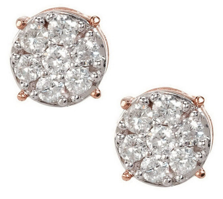 Diamond Round Cluster Stud Earrings, 14K, 1/2 cttw, by Affinity