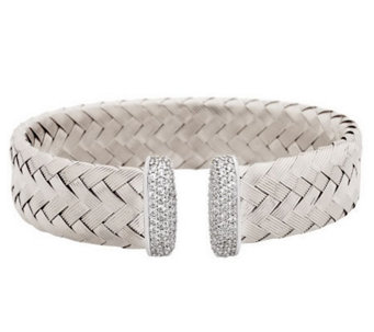 VicenzaSilver Sterling Bold Woven Cuff with Diamonique Endcaps - J279541