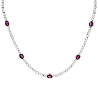 "Judith Ripka 20"" 10.00cttw Rhodolite and Diamonique Tennis Necklace - J288841"