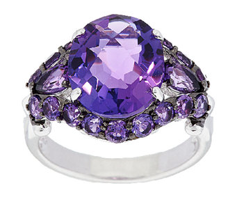 5.25 ct tw Amethyst Oval Sterling Ring - J289041