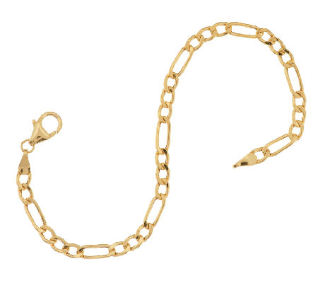 "Vicenza Gold 6-3/4"" Polished Figaro Chain Bracelet 14K Gold, 1.8g"