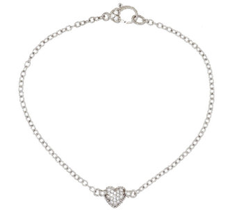 "Judith Ripka Sterling 9"" Pave' Heart Diamonique Anklet - J293741"