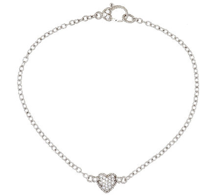 "Judith Ripka Sterling 9"" Pave' Heart Diamonique Anklet"