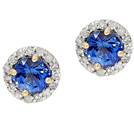 0.70 ct tw Ceylon Sapphire & Diamond Earrings, 14K