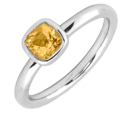 Simply Stacks Sterling & Cushion Cut Citrine Ring