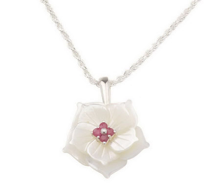 "Lee Sands Mother-of-Pearl Flower Necklace w/17-3/4"" Chain"