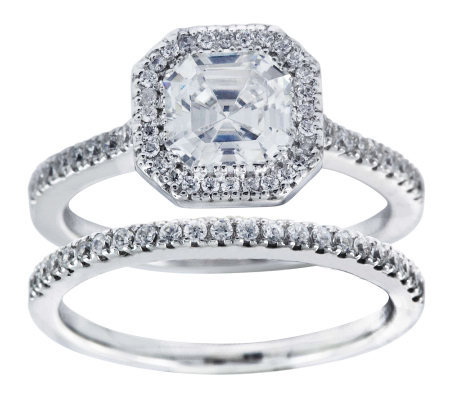 Diamonique 2.25 cttw 2 Piece Bridal Ring Set, Platinum Clad