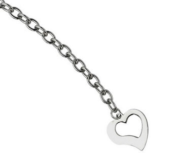 "Stainless Steel 8-1/4"" Polished Link w/Open Heart Bracelet - J306541"