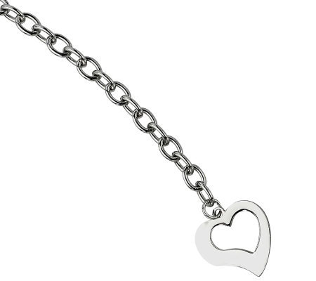 "Stainless Steel 8-1/4"" Polished Link w/Open Heart Bracelet"