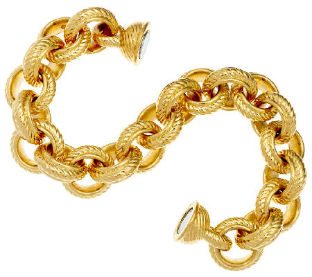 "Oro Nuovo 7-1/4"" Textured & Polished Rolo Bracelet, 14K"
