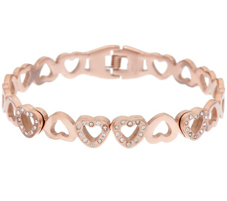 Stainless Steel Crystal Eternity Heart Cuff