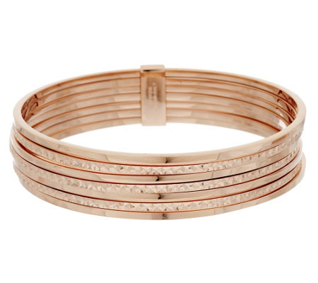 """As Is"" Bronzo Italia Set of 7 Diamond Cut Stack Bangles"
