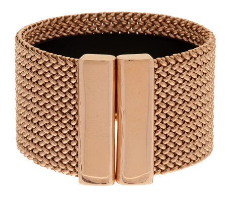 """As Is"" Bronzo Italia Large Bold Woven Mesh Cuff Bracelet"