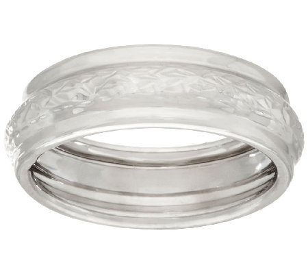 EternaGold Crystal Cut & Polished Band Ring, 14K White Gold