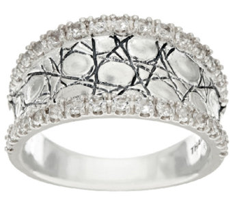 JAI Sterling & White Topaz Concave Croco Texture Ring - J323041