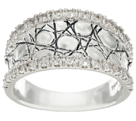JAI Sterling & White Topaz Concave Croco Texture Ring