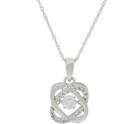 """As Is"" Halo Dancing Diamond Pendant w/Chain 14K, 1/4 cttw by Affinity"