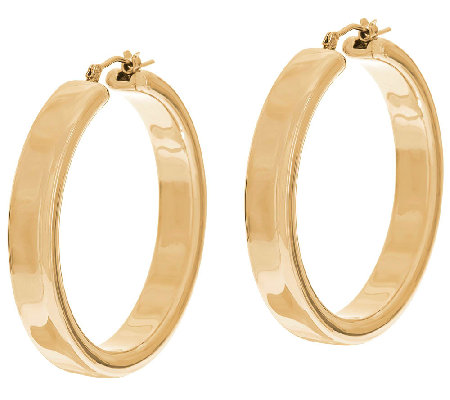 "Oro Nuovo 1-1/2"" Polished Round Hoop Earrings, 14K"